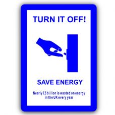 Turn it Off Save Energy-Aluminium Metal Sign-150mmx100mm-Notice,Door,Electricity,Light,Bulb,House